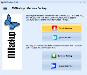 Outlook Backup with MOBackup - Backup software for Outlook