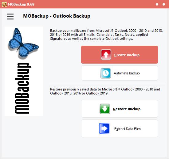MOBackup - Outlook Backup Software full screenshot